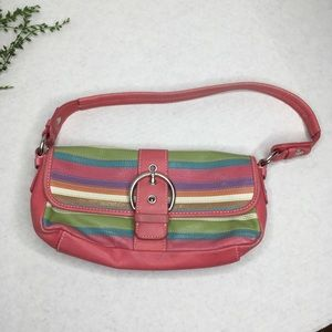 Fossil Mini Pastel Striped Leather Shoulder Bag